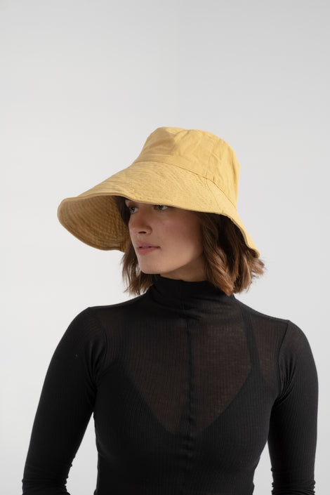 Freya linen bucket hat in corn-Freya hat-linen bucket hat-yellow bucket hat-summer hat-gardening hat-Idun-St. Paul
