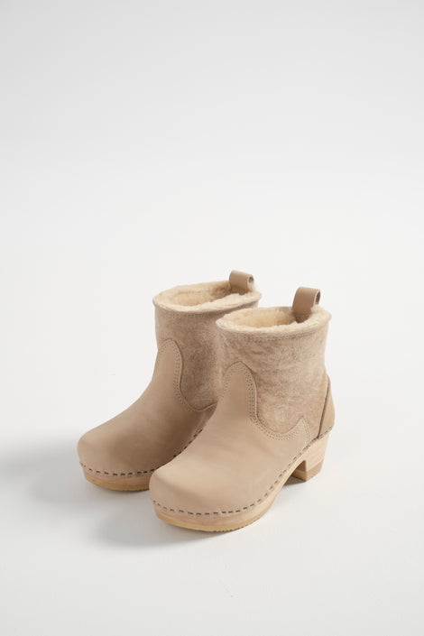 No.6-No.6 clogs-No.6 Pull on Shearling Clog-No.6 Shearling Clog-No.6 Shearling Clog Mid Heel Parchment Suede-suede boots-suede clog boots-Idun-St. Paul