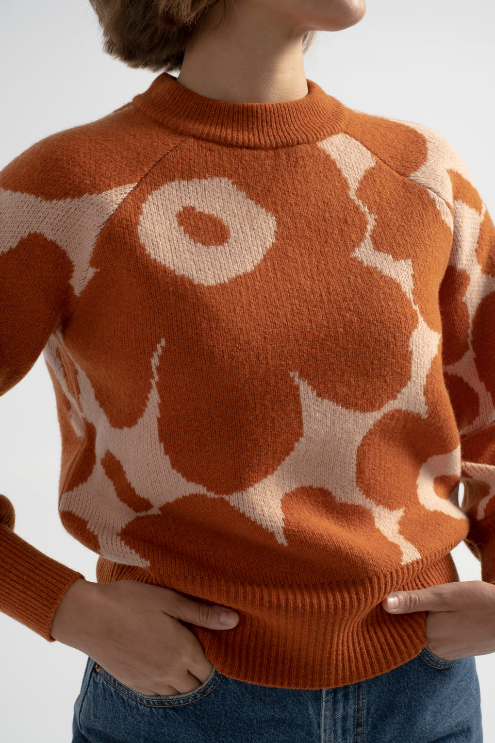 Marimekko-Marimekko Kietoa Unikko Knit Sweater-Marimekko floral sweater-orange floral sweater-Idun-St. Paul