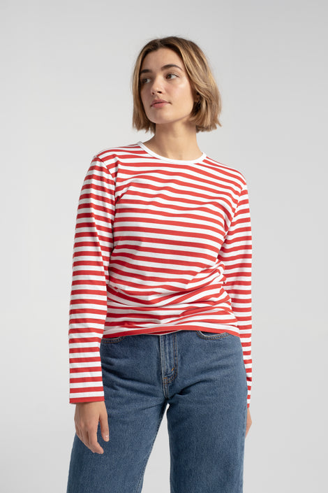 Marimekko-Marimekko Pitkähiha Shirt-Marimekko striped shirt-red and white striped shirt-Idun-St. Paul