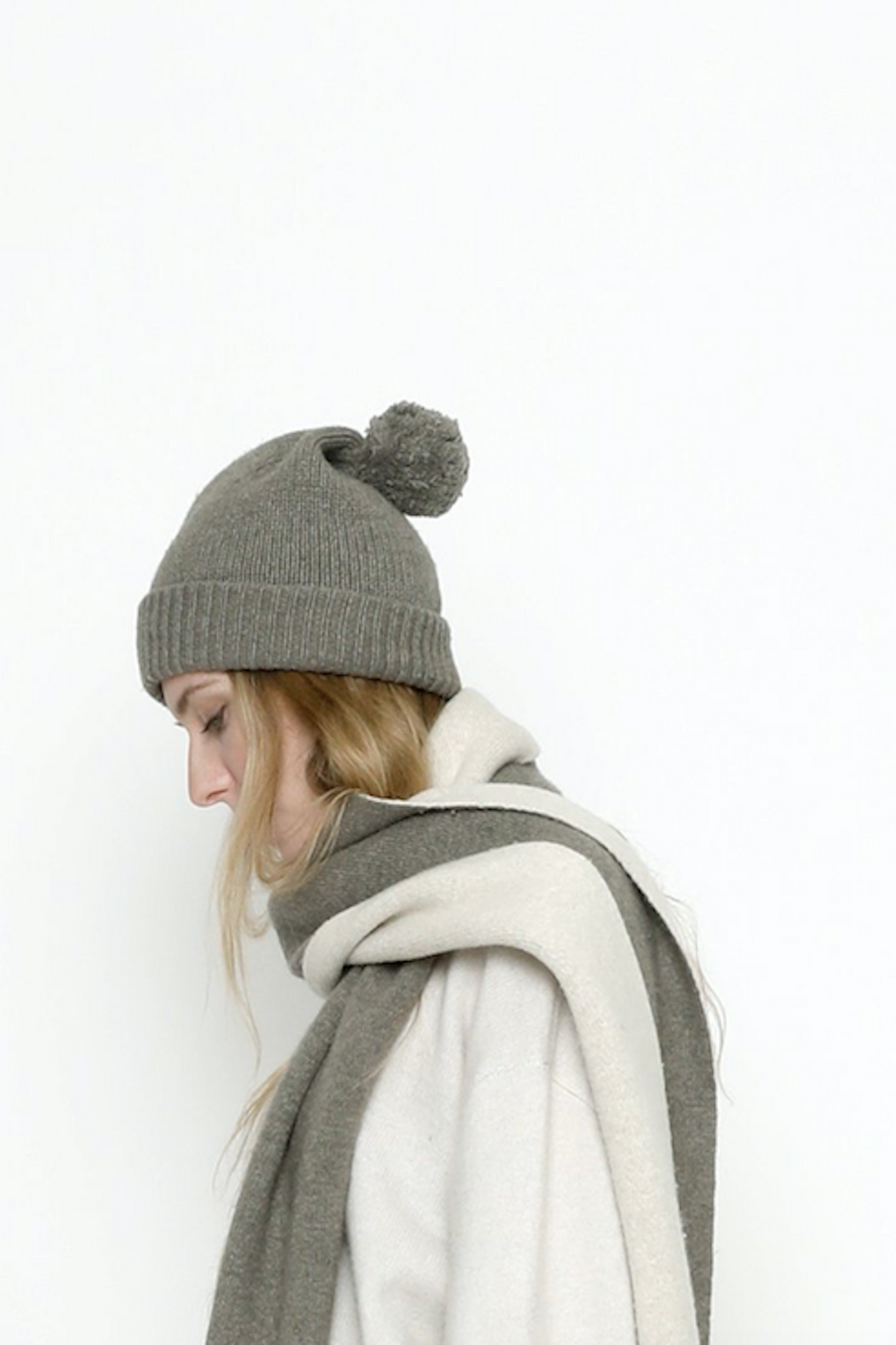 7115 by Szeki-7115 by Szeki pom pom beanie-gray beanie hat-pom pom winter hat-gray winter hat-Idun-St. Paul