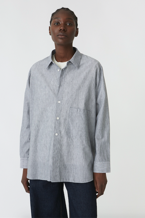 Hope Elma Shirt - navy stripe button-up shirt - Idun - St. Paul