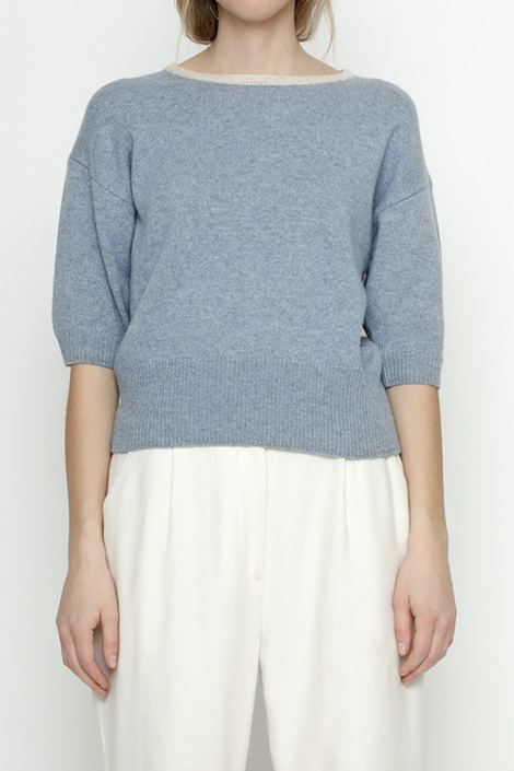 7115 by Szeki-7115 by Szeki Mid Sleeves Pullover-blue sweater-short sleeve sweater-Idun-St. Paul