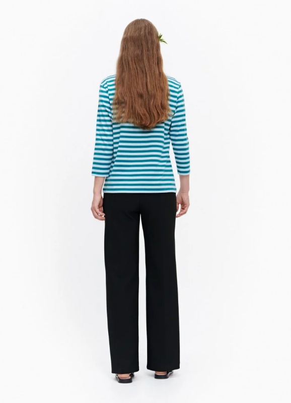 Marimekko Ilma Shirt - turquoise striped shirt - Idun - St. Paul