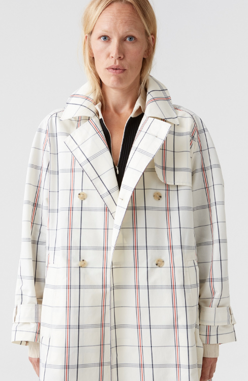 Hope Shield Coat Creme Check-Trench Coat-Spring Jacket