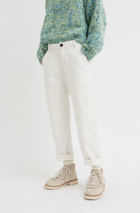Idun-Saint Paul-Wood Wood Esther Trousers-White Pants-Denim Pants-Workwear Pants