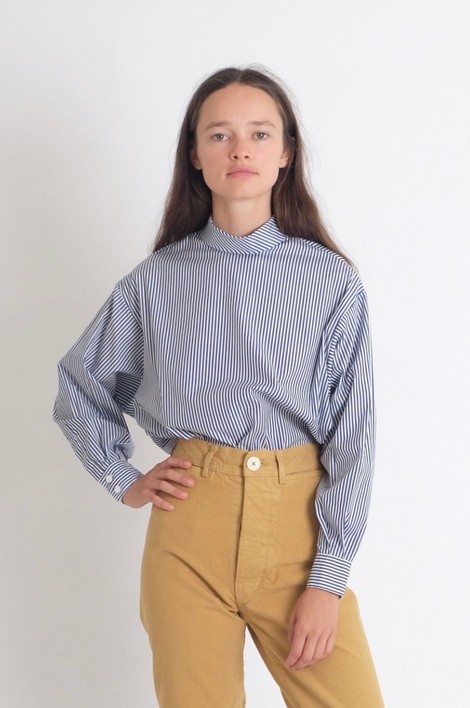 Idun-Saint Paul-Jesse Kamm Box Turtleneck-Striped Top-Mock Turtleneck