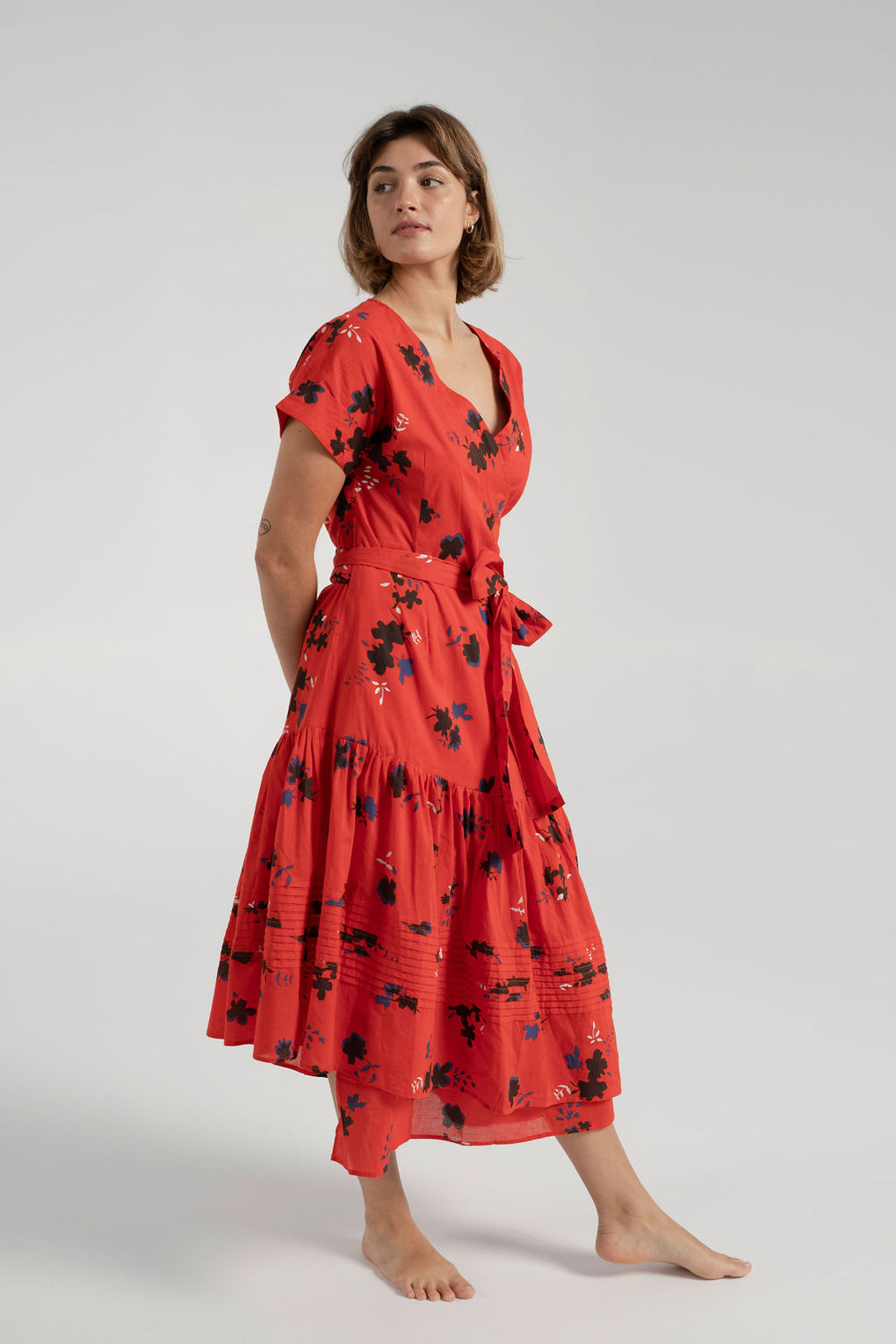 Apiece Apart-Amaro Wrap Dress-red wrap dress-apiece apart dress-Idun-St. Paul