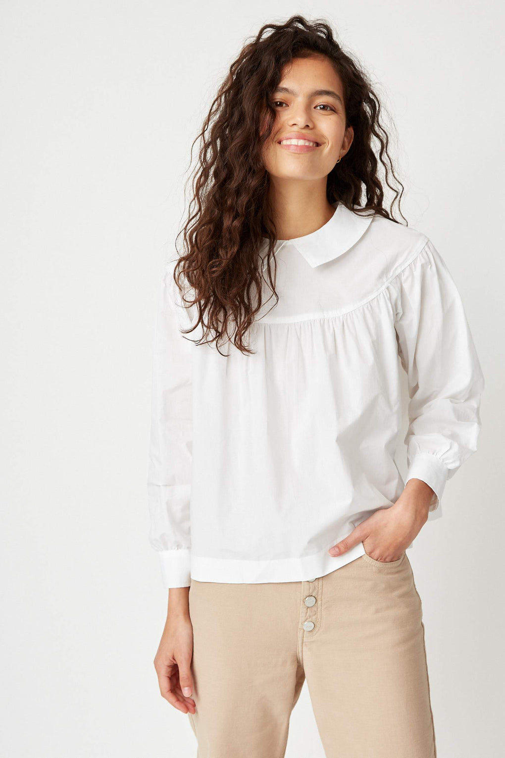 Idun-Saint Paul-Wood Wood-Maia Top-white shirt-white top