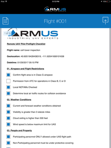 RMUS part 107 remote uav checklist app report