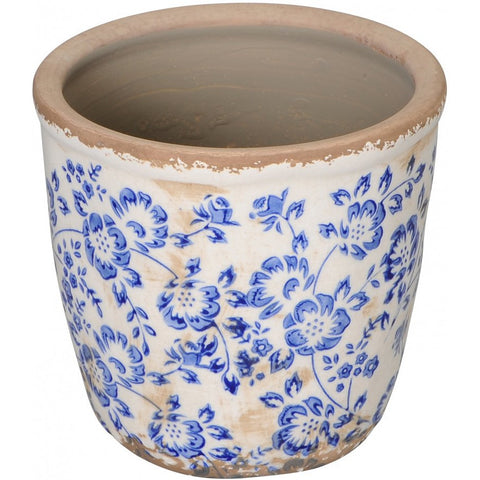 Floral Blue and White Planter