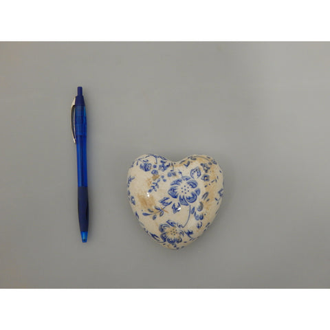 Blue & White Floral Decorative Ceramic Hearts at Vivre, Nelson, NZ