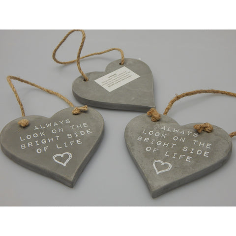Ceramic Hanging Heart Plaque - Always look on the bright side of life