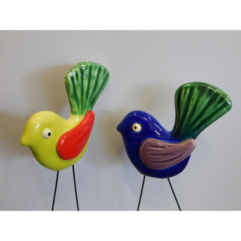 NZ Made Ceramics fantail on a wire buy now at Vivre, Nelson, NZ lovely gift present idea for visitors and tourists alike