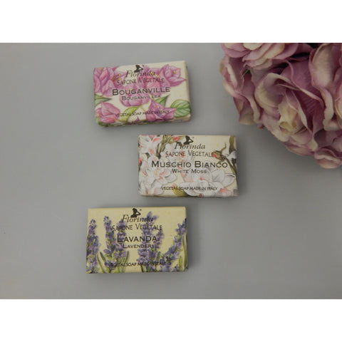 Floral fragrance vegetable soap made in Italy perfect size for a guest soap very attractively presented and great gift idea buy now at Vivre, Nelson, NZ
