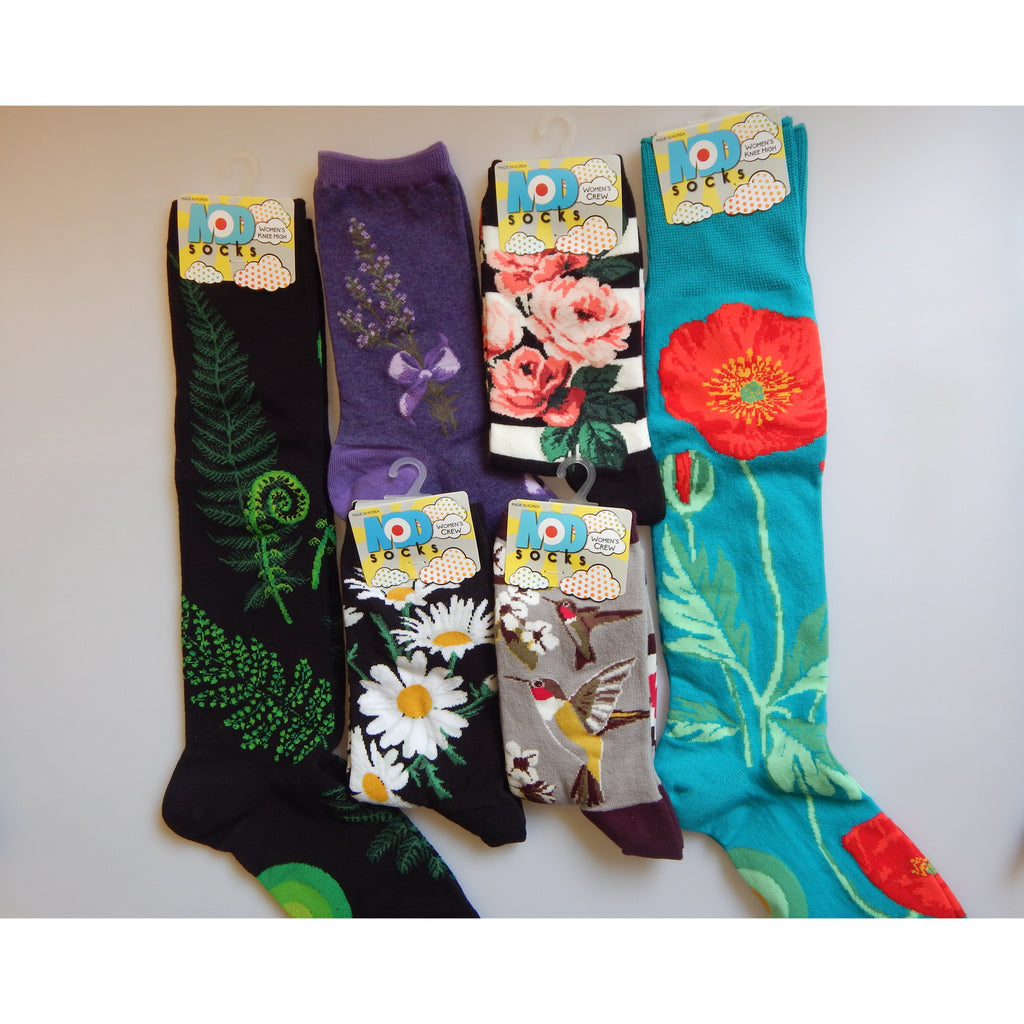 Buy a 6 pack of fun funky socks at Vivre, Nelson, NZ, sloths, llamas, cats, dogs, flowers, bees and much more