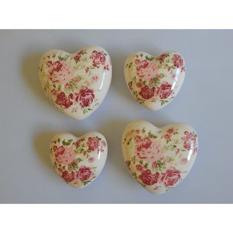 Floral Rose Heart Dark Pink Decorative Ceramic Hearts at Vivre, Nelson, NZ