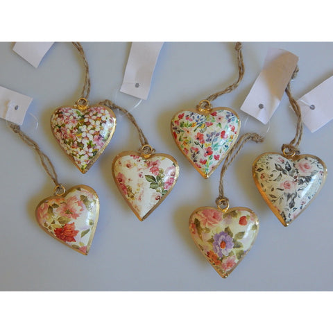 Mini Floral Rose Hanging Heart