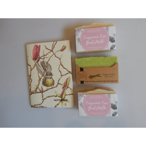 NZ Made Soap and NZ Art Notebook, buy now at Vivre, Nelson, NZ
