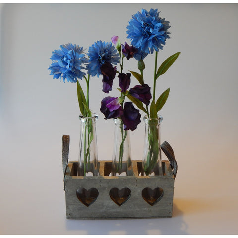 3 Vases in Wooden Heart Tray