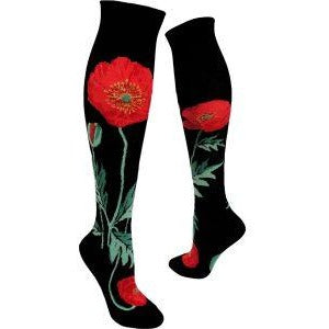 Bold Poppies Black Knee High Socks