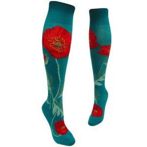 Bold Poppies Lake Knee High Socks