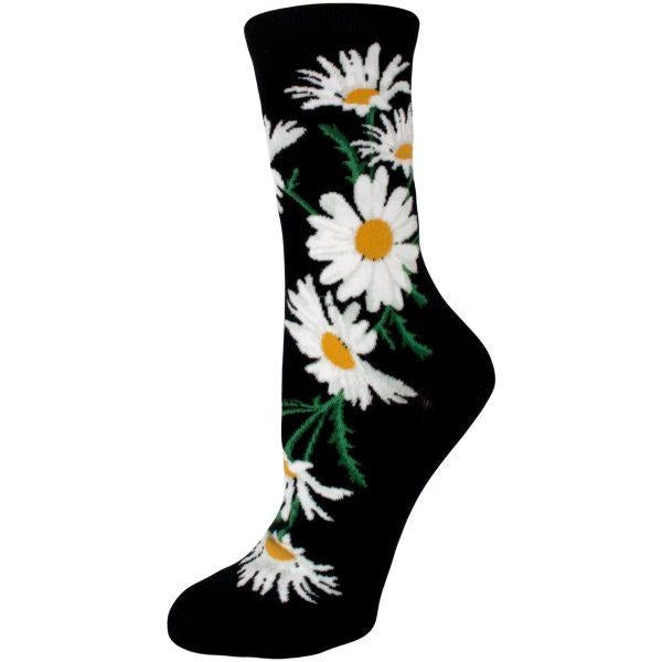 Daisies Black Crew Socks