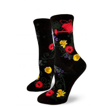 Gardening Crew Socks, Black, featuring watering cans and flowers