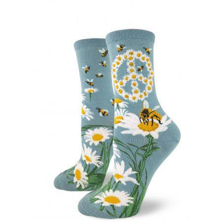 Bees and Peace Crew Socks