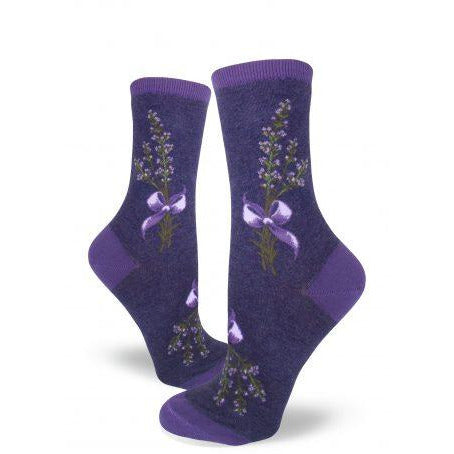 Lavender Flower Crew Socks