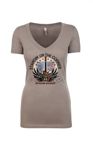 Standin' on the Corner Women's Vneck Tee