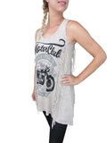Easy Rider  Long Tank Top - Classic Motorcycle Design with Crystals and Fringe on Sides