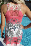All Summer Long  - Sparkly Coral/White Tank