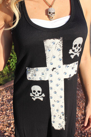 Black Betty Tank - Skull & Cross with Rhinestones