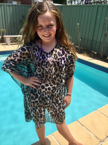 GIRLS LEOPARD KAFTAN