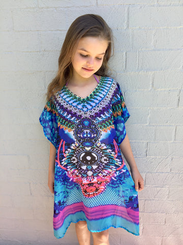 GIRLS BLUE AZTEC KAFTAN