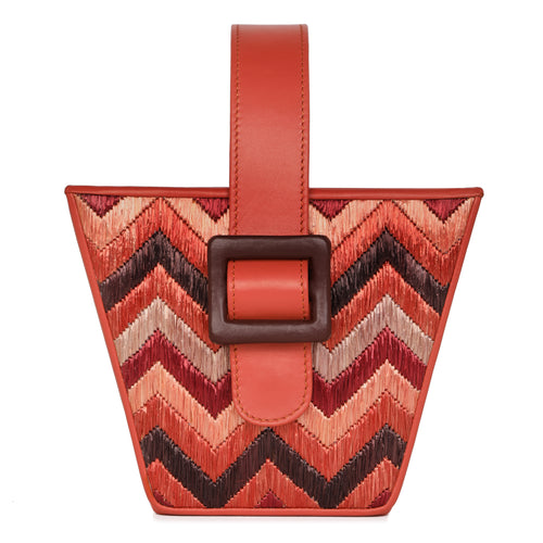 Dania – Bucket Bag With Leather And Chevron Raffia - MAYRAFEDANE