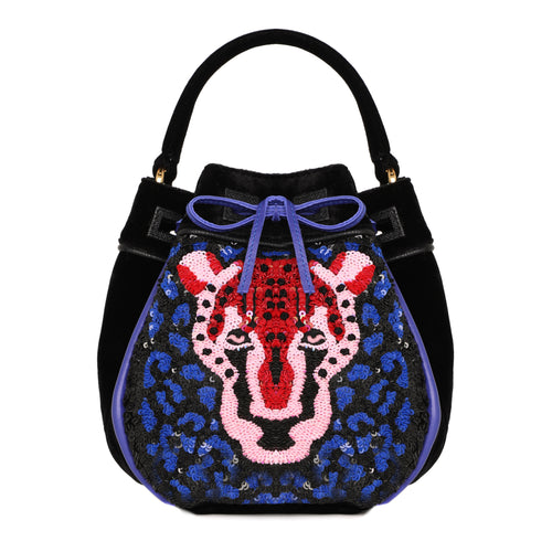 Karina - Leopard Embroidered Velvet Pouch Bucket Bag - MAYRAFEDANE