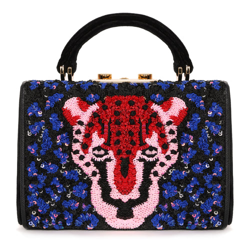 Nano Bella - Leopard Embroidered Velvet Cross-body Bag - MAYRAFEDANE