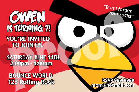PRINTABLE. ANGRY BIRDS PERSONALIZED BIRTHDAY INVITATION. SIZE 4 INCHES TALL AND 6 INCES WIDE.