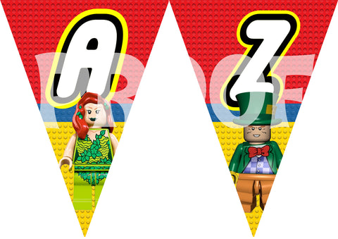 PRINTABLE.. LEGO MOVIE BANNER THE FULL ALPHABET WITH SUPER HEROES AND VILLANS ONE CHARACTER ON EACH PENNANT.. SIZE 5 INCHES WIDE AND 7 INCHES TALL.