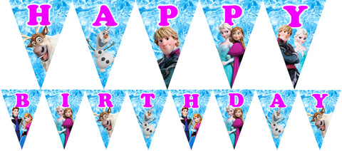 PRINTABLE.. FROZEN PENNANT BANNER SPELLS HAPPY BIRTHDAY.. EACH PENNANT SIZE 5 INCHES WIDE AND 7 INCHES TALL..