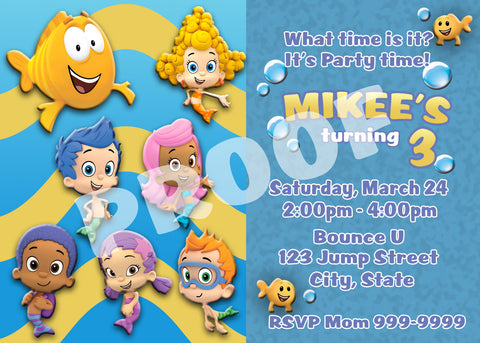 PRINTABLE.. BUBBLE GUPPIES PERSONALIZED BIRTHDAY INVITATION.. SIZE 5 INCHES TALL AND 7 INCHES WIDE..