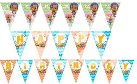 PRINTABLE.. BUBBLE GUPPIES PENNANT BANNER SPELLS HAPPY BIRTHDAY ...