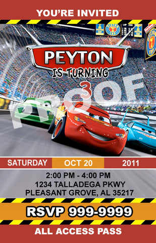 PRINTABLE.. DISNEY CARS PERSONALIZED BIRTHDAY INVITATION.. SIZE 5 INCHES WIDE AND 7 INCHES TALL..