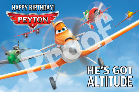 PRINTABLE. DISNEY PLANES PERSONALIZED OVERSIZE BANNER. SIZE 24 INCHES TALL AND 36 INCHES WIDE.