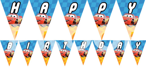 PRINTABLE.. DISNEY CARS PENNANT BANNER SPELLS HAPPY BIRTHDAY.. EACH PENNANT IS 5 INCHES WIDE AND 7 INCHES TALL