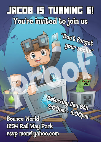 Printable.. Dan TDM The Diamond Minecart Birthday Invitation. Size 5 inches wide and 7 inches tall.