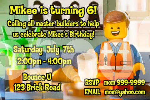 Printable. Lego Movie Emmett Personalized Birthday Invitation. Size 4 inches tall and 6 inches wide.