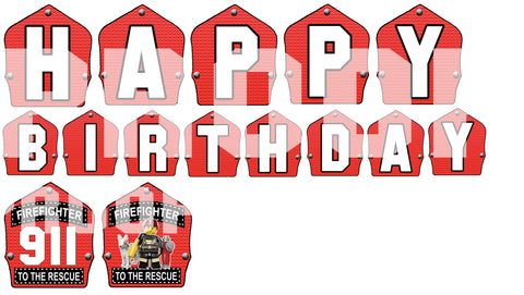 PRINTABLE.. FIREMAN BANNER SPELLS HAPPY BIRTHDAY.. SIZE 5 INCHES WIDE AND 7 INCHES TALL..